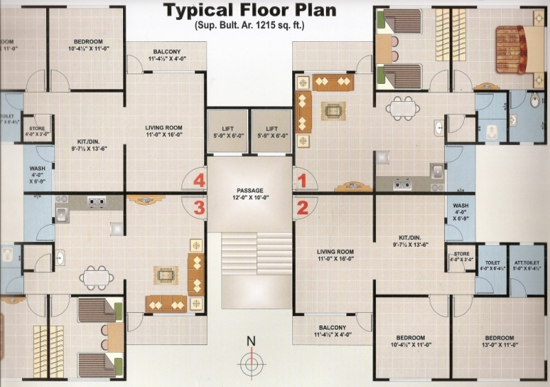 2 BHK 1215 sq-ft, Flat for Sale at Althan - Surat - SDRPOST982